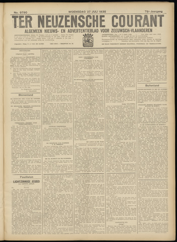 Ter Neuzensche Courant. Algemeen Nieuws- en Advertentieblad voor Zeeuwsch-Vlaanderen / Neuzensche Courant ... (idem) / (Algemeen) nieuws en advertentieblad voor Zeeuwsch-Vlaanderen 1938-07-27