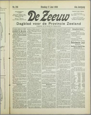 De Zeeuw. Christelijk-historisch nieuwsblad voor Zeeland 1930-06-17