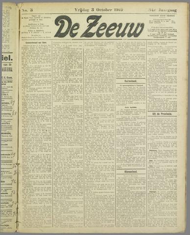De Zeeuw. Christelijk-historisch nieuwsblad voor Zeeland 1919-10-03