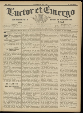 Luctor et Emergo. Antirevolutionair nieuws- en advertentieblad voor Zeeland / Zeeuwsch-Vlaanderen. Orgaan ter verspreiding van de christelijke beginselen in Zeeuwsch-Vlaanderen 1915-05-22