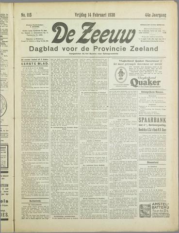 De Zeeuw. Christelijk-historisch nieuwsblad voor Zeeland 1930-02-14