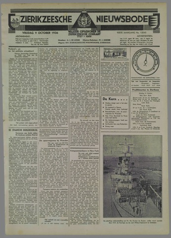 Zierikzeesche Nieuwsbode 1936-10-09