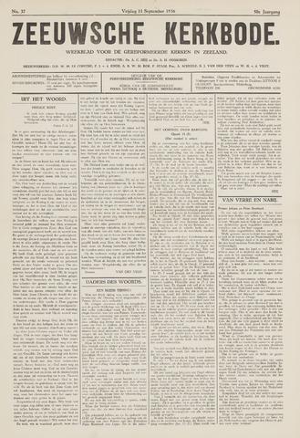 Zeeuwsche kerkbode, weekblad gewijd aan de belangen der gereformeerde kerken/ Zeeuwsch kerkblad 1936-09-11