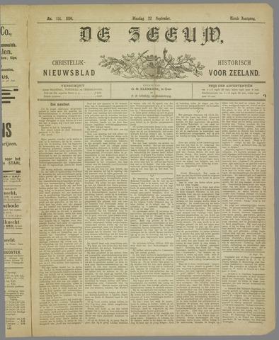 De Zeeuw. Christelijk-historisch nieuwsblad voor Zeeland 1896-09-22