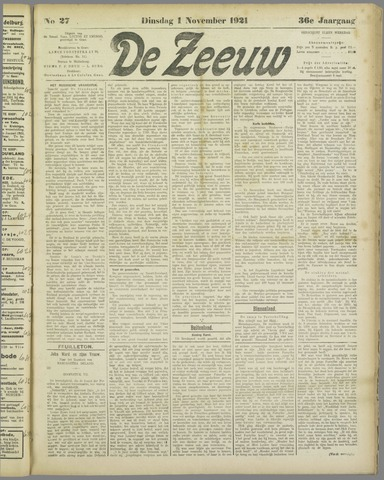 De Zeeuw. Christelijk-historisch nieuwsblad voor Zeeland 1921-11-01