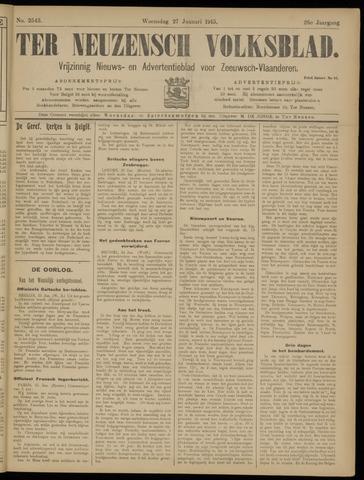 Ter Neuzensch Volksblad. Vrijzinnig nieuws- en advertentieblad voor Zeeuwsch- Vlaanderen / Zeeuwsch Nieuwsblad. Nieuws- en advertentieblad voor Zeeland 1915-01-27