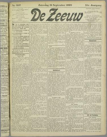 De Zeeuw. Christelijk-historisch nieuwsblad voor Zeeland 1920-09-18