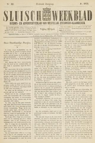 Sluisch Weekblad. Nieuws- en advertentieblad voor Westelijk Zeeuwsch-Vlaanderen 1875-04-23