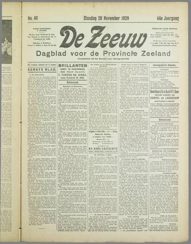 De Zeeuw. Christelijk-historisch nieuwsblad voor Zeeland 1929-11-26