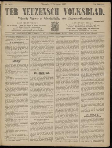 Ter Neuzensch Volksblad. Vrijzinnig nieuws- en advertentieblad voor Zeeuwsch- Vlaanderen / Zeeuwsch Nieuwsblad. Nieuws- en advertentieblad voor Zeeland 1917-11-21