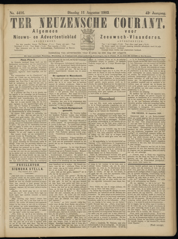 Ter Neuzensche Courant. Algemeen Nieuws- en Advertentieblad voor Zeeuwsch-Vlaanderen / Neuzensche Courant ... (idem) / (Algemeen) nieuws en advertentieblad voor Zeeuwsch-Vlaanderen 1903-08-11