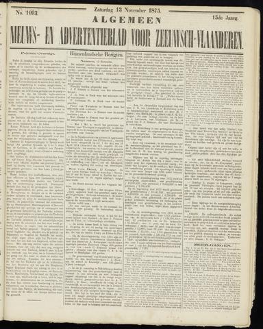 Ter Neuzensche Courant. Algemeen Nieuws- en Advertentieblad voor Zeeuwsch-Vlaanderen / Neuzensche Courant ... (idem) / (Algemeen) nieuws en advertentieblad voor Zeeuwsch-Vlaanderen 1875-11-13