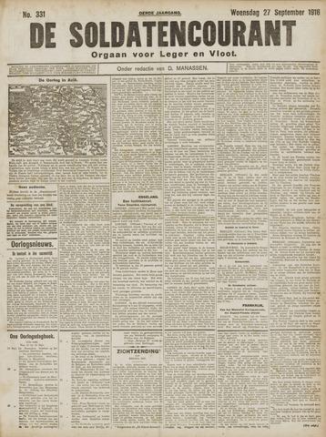 De Soldatencourant. Orgaan voor Leger en Vloot 1916-09-27