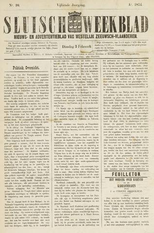 Sluisch Weekblad. Nieuws- en advertentieblad voor Westelijk Zeeuwsch-Vlaanderen 1874-02-03