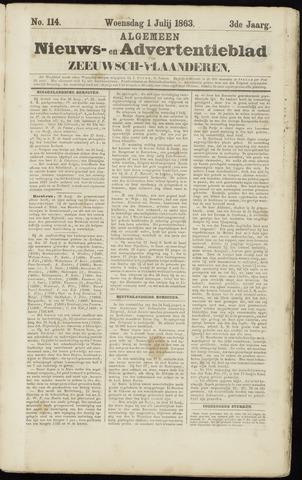 Ter Neuzensche Courant. Algemeen Nieuws- en Advertentieblad voor Zeeuwsch-Vlaanderen / Neuzensche Courant ... (idem) / (Algemeen) nieuws en advertentieblad voor Zeeuwsch-Vlaanderen 1863-07-01