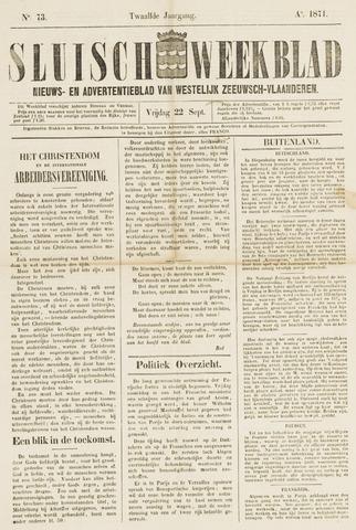 Sluisch Weekblad. Nieuws- en advertentieblad voor Westelijk Zeeuwsch-Vlaanderen 1871-09-22