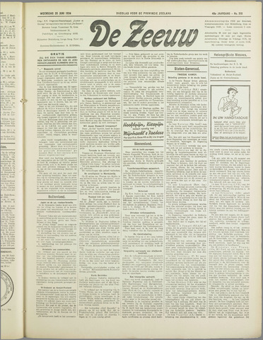 De Zeeuw. Christelijk-historisch nieuwsblad voor Zeeland 1934-06-20
