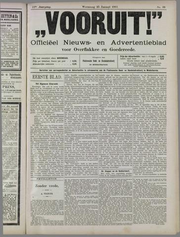 """""""Vooruit!""""Officieel Nieuws- en Advertentieblad voor Overflakkee en Goedereede 1911-01-25"""