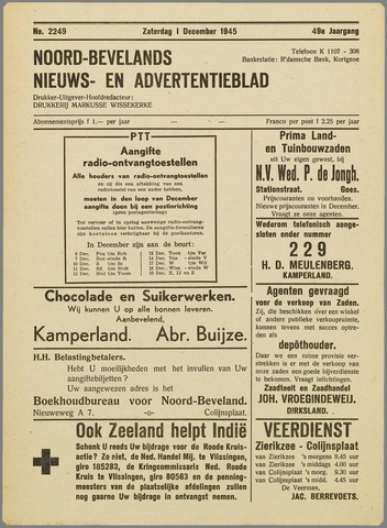 Noord-Bevelands Nieuws- en advertentieblad 1945-12-01
