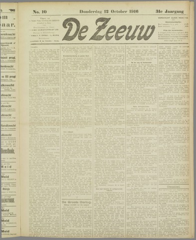 De Zeeuw. Christelijk-historisch nieuwsblad voor Zeeland 1916-10-12