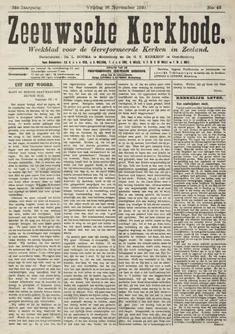 Zeeuwsche kerkbode, weekblad gewijd aan de belangen der gereformeerde kerken/ Zeeuwsch kerkblad 1920-11-26