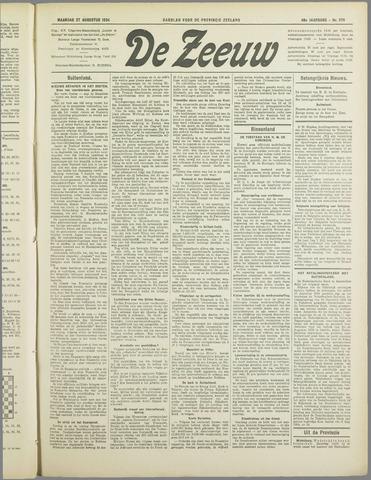 De Zeeuw. Christelijk-historisch nieuwsblad voor Zeeland 1934-08-27