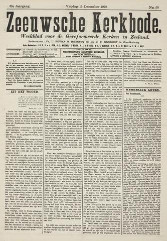 Zeeuwsche kerkbode, weekblad gewijd aan de belangen der gereformeerde kerken/ Zeeuwsch kerkblad 1918-12-13