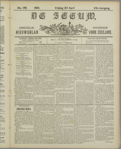 De Zeeuw. Christelijk-historisch nieuwsblad voor Zeeland 1910-04-29