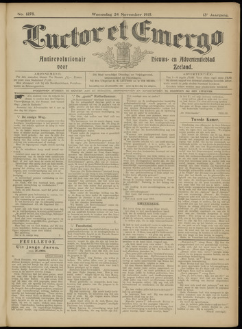 Luctor et Emergo. Antirevolutionair nieuws- en advertentieblad voor Zeeland / Zeeuwsch-Vlaanderen. Orgaan ter verspreiding van de christelijke beginselen in Zeeuwsch-Vlaanderen 1915-11-24