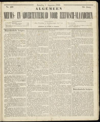 Ter Neuzensche Courant. Algemeen Nieuws- en Advertentieblad voor Zeeuwsch-Vlaanderen / Neuzensche Courant ... (idem) / (Algemeen) nieuws en advertentieblad voor Zeeuwsch-Vlaanderen 1869-08-07
