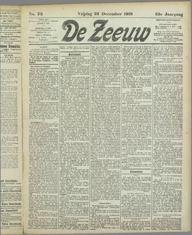 De Zeeuw. Christelijk-historisch nieuwsblad voor Zeeland 1918-12-27