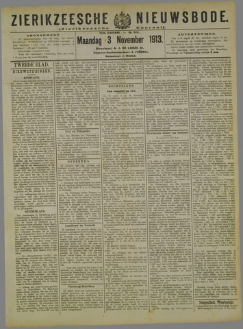Zierikzeesche Nieuwsbode 1913-11-03