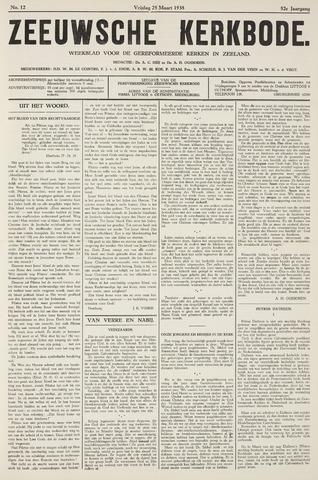 Zeeuwsche kerkbode, weekblad gewijd aan de belangen der gereformeerde kerken/ Zeeuwsch kerkblad 1938-03-25