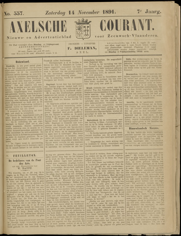 Axelsche Courant 1891-11-14