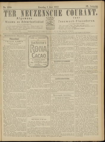Ter Neuzensche Courant. Algemeen Nieuws- en Advertentieblad voor Zeeuwsch-Vlaanderen / Neuzensche Courant ... (idem) / (Algemeen) nieuws en advertentieblad voor Zeeuwsch-Vlaanderen 1912-06-01