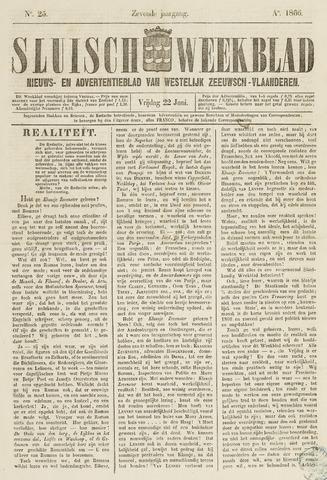 Sluisch Weekblad. Nieuws- en advertentieblad voor Westelijk Zeeuwsch-Vlaanderen 1866-06-22