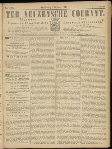Ter Neuzensche Courant. Algemeen Nieuws- en Advertentieblad voor Zeeuwsch-Vlaanderen / Neuzensche Courant ... (idem) / (Algemeen) nieuws en advertentieblad voor Zeeuwsch-Vlaanderen 1911-10-05