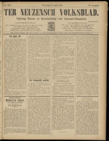 Ter Neuzensch Volksblad. Vrijzinnig nieuws- en advertentieblad voor Zeeuwsch- Vlaanderen / Zeeuwsch Nieuwsblad. Nieuws- en advertentieblad voor Zeeland 1914-04-29