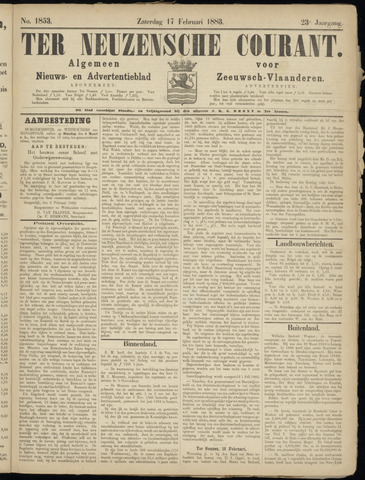 Ter Neuzensche Courant. Algemeen Nieuws- en Advertentieblad voor Zeeuwsch-Vlaanderen / Neuzensche Courant ... (idem) / (Algemeen) nieuws en advertentieblad voor Zeeuwsch-Vlaanderen 1883-02-17