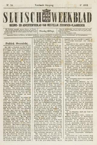 Sluisch Weekblad. Nieuws- en advertentieblad voor Westelijk Zeeuwsch-Vlaanderen 1873-09-23
