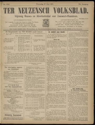 Ter Neuzensch Volksblad. Vrijzinnig nieuws- en advertentieblad voor Zeeuwsch- Vlaanderen / Zeeuwsch Nieuwsblad. Nieuws- en advertentieblad voor Zeeland 1917-06-27