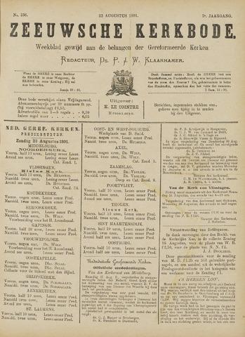 Zeeuwsche kerkbode, weekblad gewijd aan de belangen der gereformeerde kerken/ Zeeuwsch kerkblad 1891-08-22