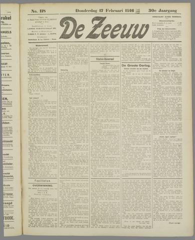 De Zeeuw. Christelijk-historisch nieuwsblad voor Zeeland 1916-02-17