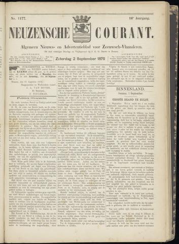 Ter Neuzensche Courant. Algemeen Nieuws- en Advertentieblad voor Zeeuwsch-Vlaanderen / Neuzensche Courant ... (idem) / (Algemeen) nieuws en advertentieblad voor Zeeuwsch-Vlaanderen 1876-09-02