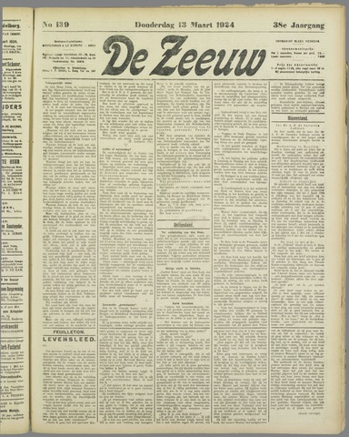 De Zeeuw. Christelijk-historisch nieuwsblad voor Zeeland 1924-03-13