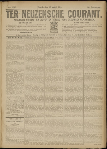 Ter Neuzensche Courant. Algemeen Nieuws- en Advertentieblad voor Zeeuwsch-Vlaanderen / Neuzensche Courant ... (idem) / (Algemeen) nieuws en advertentieblad voor Zeeuwsch-Vlaanderen 1916-04-13