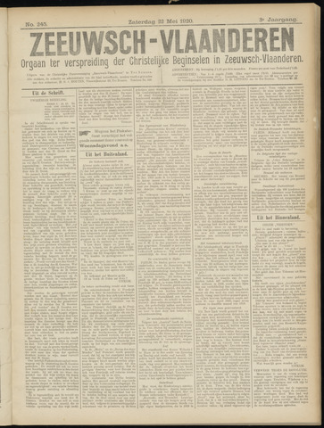 Luctor et Emergo. Antirevolutionair nieuws- en advertentieblad voor Zeeland / Zeeuwsch-Vlaanderen. Orgaan ter verspreiding van de christelijke beginselen in Zeeuwsch-Vlaanderen 1920-05-22