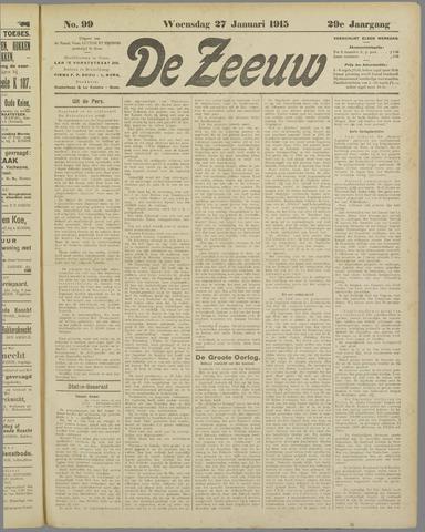 De Zeeuw. Christelijk-historisch nieuwsblad voor Zeeland 1915-01-27