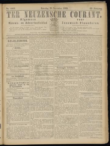 Ter Neuzensche Courant. Algemeen Nieuws- en Advertentieblad voor Zeeuwsch-Vlaanderen / Neuzensche Courant ... (idem) / (Algemeen) nieuws en advertentieblad voor Zeeuwsch-Vlaanderen 1903-11-28