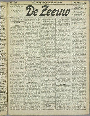 De Zeeuw. Christelijk-historisch nieuwsblad voor Zeeland 1920-09-20